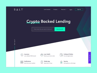 Crypto-Backed Loans Website web design website cryptocurrency crypto