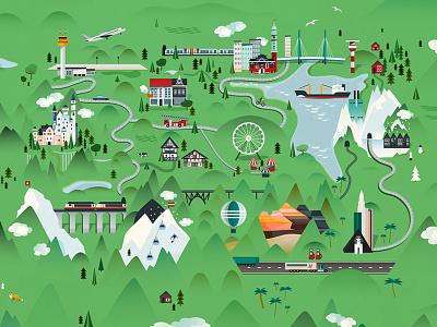 Wonderland map flat wonderland map illustration