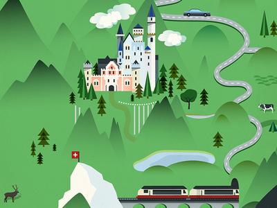 Wonderland map wonderland railway neuschwanstein castle illustration map