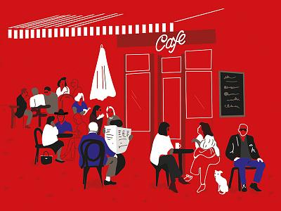 Cafe hamburg cafe illustration