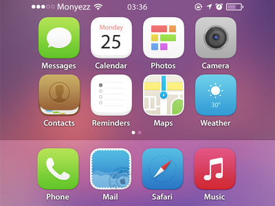 iOS homescreen wishful thinking ios homescreen app icons concept mail contacts maps reminders safari