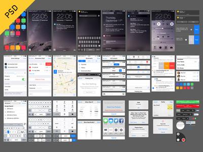 iOS 8 UI (free PSD) ui freebie psd ios notification settings ui kit ios 8 control center lock screen notification center