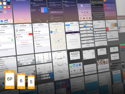 iOS 9 Complete UI (free Sketch+PSD for iPhone 5, 6 and 6 Plus)