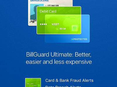 BillGuard Ultimate marketing screen 💸 driver license identity protection credit card purchase marketing billguard artwork illustration