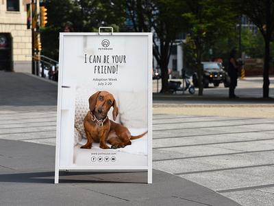 A-Frame Poster Display Sign Mockup/ Vol 4.0 advert ads aframe poster banner outdoor signage sidewalk storefront board signboard sign branding clevery modern minimal design creative mock-up mockup