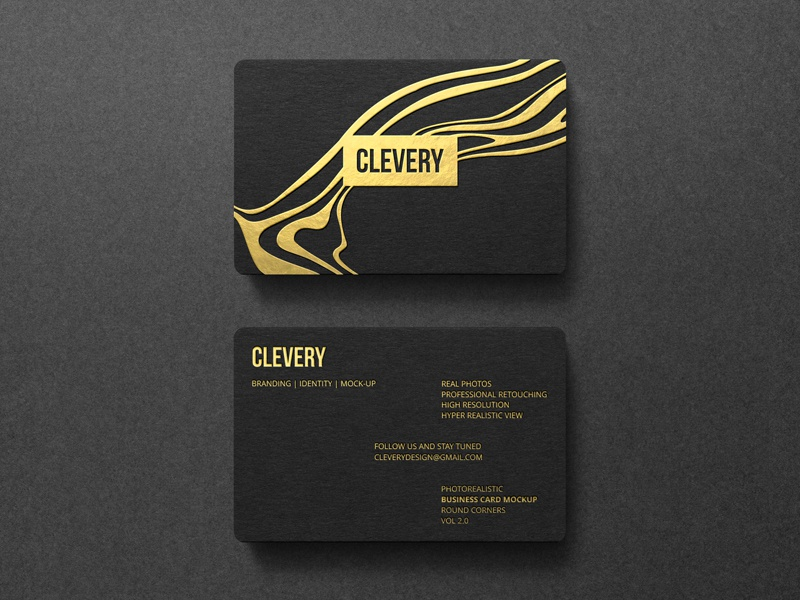 Photorealistic Business Card Mockup Round Corners Vol 2.0 creative identity stationery branding emboss letterpress hotstamping black mockup clevery business card