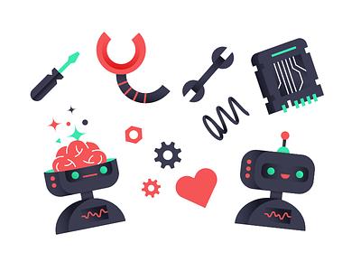 Robot parts tools brain circuit board gear heart robot illustration