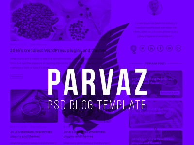 Parvaz - Personal Blog Template simple grid psd user interface ui design ui web design webdesign blog personal