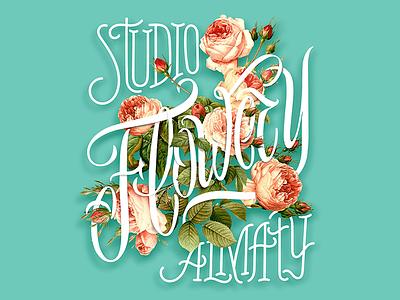 Flowery branding illustration calligraphy lettering