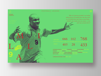 Football Legends _ Roger Milla cameroon profile typography infographic soccer football visual data ux ui layout