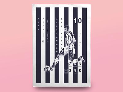 Football Legends _ Alessandro Del Piero poster datavisual juventus infographic calcio football soccer