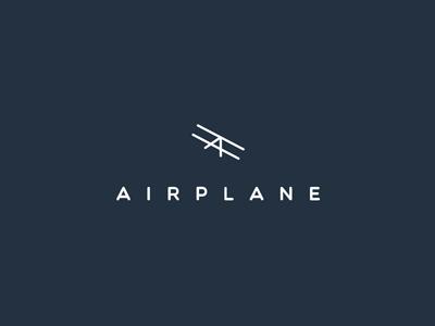 Airplane logo concept sign 2d clever invite logotype logo branding letter mascot emblem mark symbol flat icon line smart creative simple modern minimal