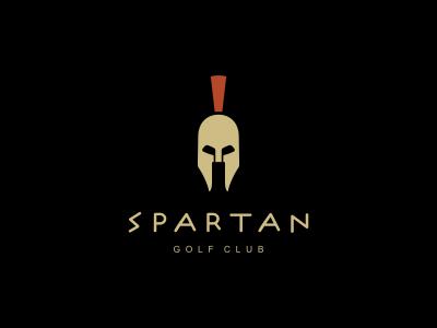 Spartan gold color black background golf helmet space negative