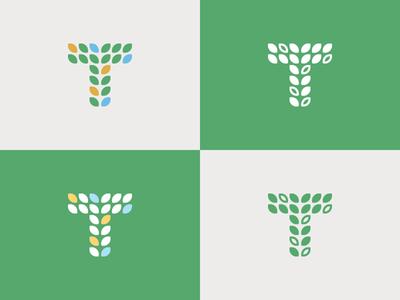 Teach People Logomark nonprofit learn teach leaves logomark identity logo