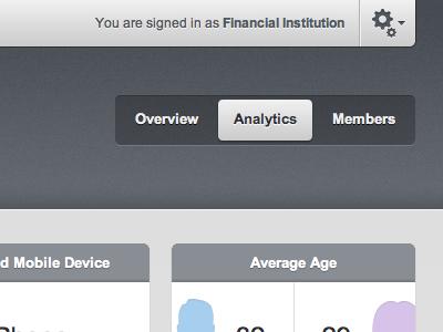 Financial institution dashboard ui