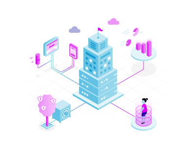 Omnichannel Experiences product design user isometric illustration analytics media security omnichannel