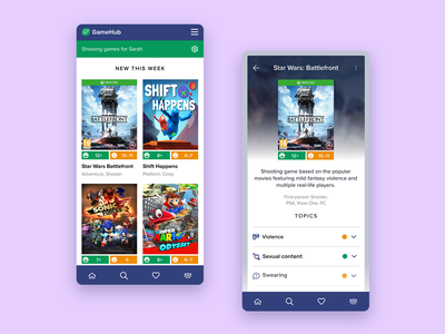 Video Games Reviews for Parents tailored content custom experience warnings mobile ui mobile app video games age rating parents kids triggers topics product page product design products reviews gaming mobile ui ux