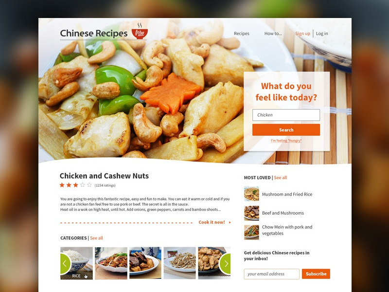 Chinese Recipes for All - Home chinese recipe clean ui ux search rating slider categories photo food cooking