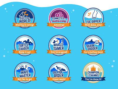 Swim22 Milestones swimming pool reward charity messages sport campaign illustration icons swim milestone badge