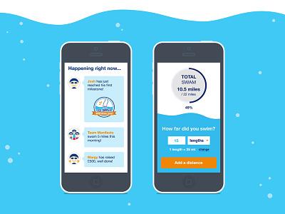 Swim22 Mobile experience form campaign fundraising swim feed activity mobile ui ux milestone totaliser avatars