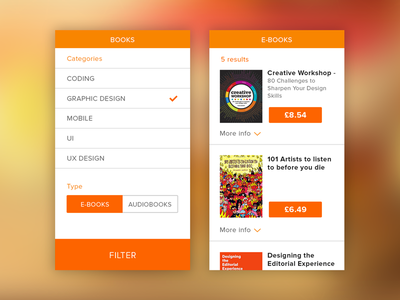 Filtering search results shop results commerce buy cover types categories mobile ux ui filter search