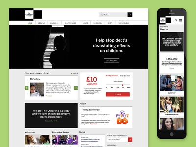 The Children's Society digital rebrand website ux responsive black and white flat minimal young fundraising donate interface charity rebrand