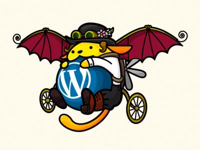 Steampunk Wapuu for WordCamp London 2016 cms event brand character steampunk illustration mascotte wordpress wordcamp wapuu