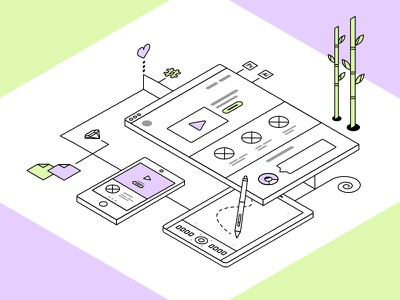 Isometric Illustration ux process creation website tablet mobile devices drawing tech illustration isometric