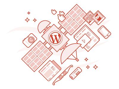 WordPress Series — One news photos events devices video media space red monochrome illustration satellite wordpress