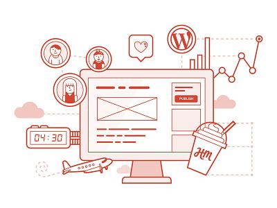 WordPress Series — Two design stats web development people remote illustration red monochrome screen computer wordpress