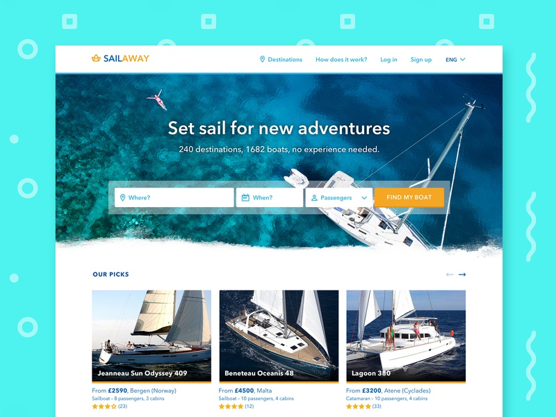 Boat renting website – desktop version renting desktop photo thumbnails form booking header website sailing boats