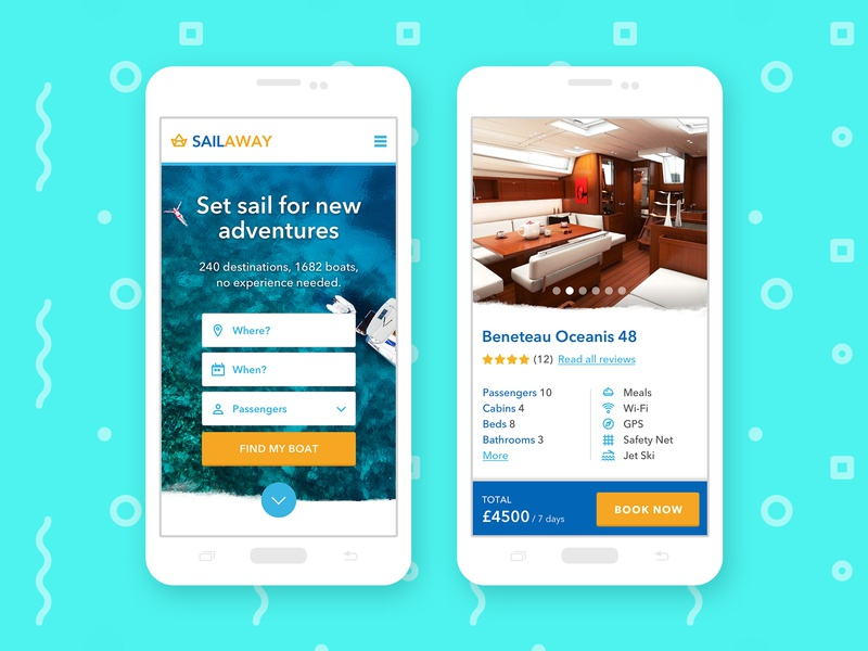 Boat renting website – Mobile version