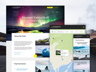 National Park website concept serif flat website tiles storytelling outdoors national park map photography landscape iceland homepage filters activities