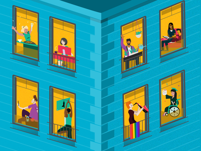 WLFH : Work and Life from Home quarantine building illustration
