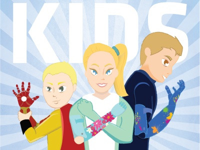 Close-up of Bionic Kids Poster bionics superheroes poster illustration limbitless solutions