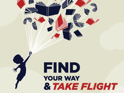 Motivational Poster flying education reading books kids