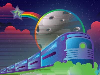 All aboard the Technicolor Rail train moon gradients rainbow