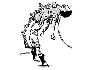 Slow Roll watercolor inks illustrator sketch dance buildings city hip hop