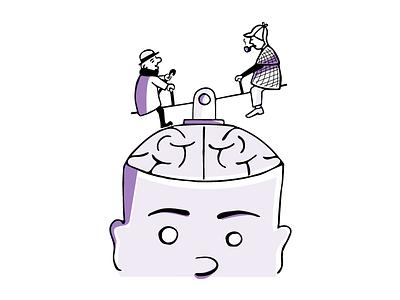 The On / Off Switch seesaw mind brain sherlock holmes mr.magoo illustration