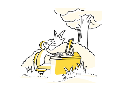 Jungle Desk technology cartoon illustration workflow desk jungle