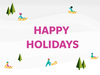 Happy Holidays Dribbblemaniacs! illustrator photoshop pine trees outdoor activities christmas hills snow sled snow sleds