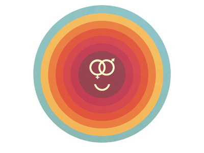 Let's Meet in the Middle activisim smiley vector sticker gender equality illustration