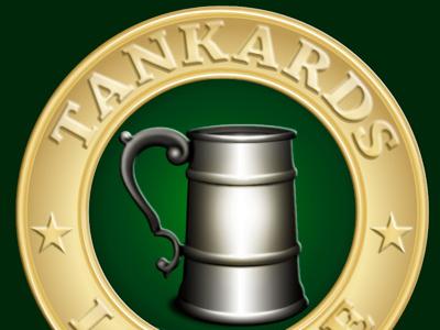 Tankards League illustration gold web branding logo medieval