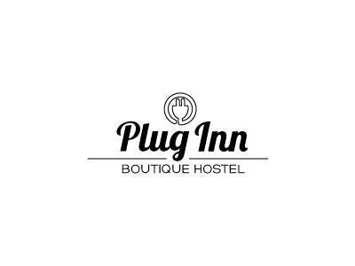 Plug Inn Logo deco black white retro logo