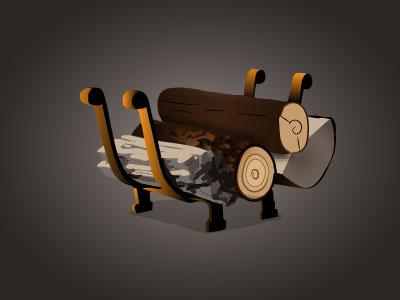 Log Holder fireside wood