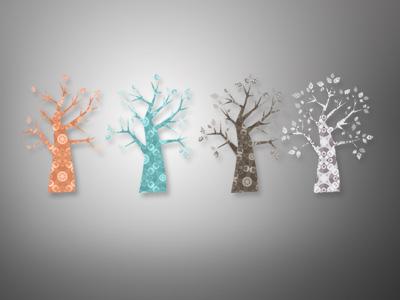 Estmi Tree vintage deco illustration print design
