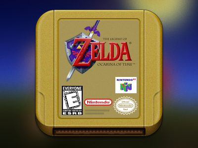 Console Icons - Zelda: Ocarina of Time pixel retro photoshop nintendo n64 icon gaming console cartridge nostalgia ocarina zelda