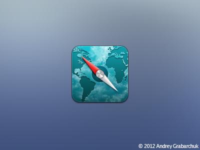 Safari ios theme icon mobile safari retina absinthe water texture clouds
