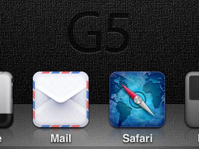 G5 Theme Teaser ios hd theme iphone icon phone mail safari ipod music dock