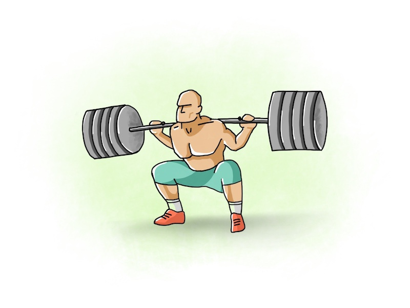 The ups and downs in life! squat weights gym illustration exercise